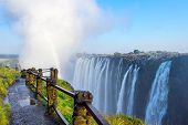 Livingstone - Zambia / July 2017: View Of Victoria Falls  At Zambia Side, One Of Most Iconic African poster