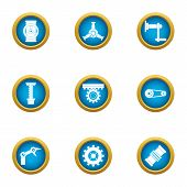 Work Info Icons Set. Flat Set Of 9 Work Info Icons For Web Isolated On White Background poster