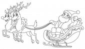 picture of sleigh ride  - Outlined Santa riding his sleigh - JPG