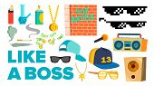 Like A Boss Icons Vector. Rapper, Gangster, Cool Singer. Isolated Flat Cartoon Illustration poster