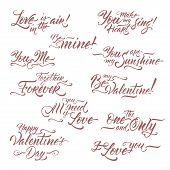 Collection Of Romantic Brush Lettering Phrases Saing Be My Valentine, I Love You, All You Need Is Lo poster
