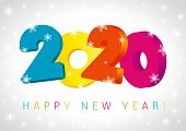 Happy New Year 2020 Numbers 3d Design Greeting Card. Merry Christmas Vector Illustration With Colorf poster
