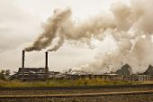 picture of sugar industry  - smog and pollution coming from a sugar mill