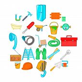 Apartment Repair Icons Set. Cartoon Set Of 25 Apartment Repair Icons For Web Isolated On White Backg poster
