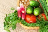 Fresh Vegetables On The Table. Domestic Kitchen poster