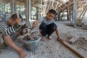 Child Labor, Children Are Forced To Work Construction, Violence Children And Trafficking Concept, An poster