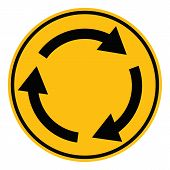 Roundabout Crossroad Road Traffic On White Background. Flat Style. Roundabout Sign For Your Web Site poster