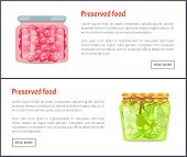 Preserved Food Banners, Sweet Cherry And Sour Lime. Fruits In Jars, Coserved Or Canned Products For  poster