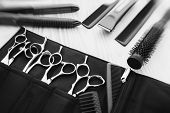 Stylish professional barber scissors and combs, hairdresser salon concept, hairdressing tool set. Ha poster