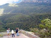Tourists At Blue Mountains, Australia poster