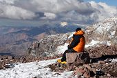 stock photo of aconcagua  - Alpine climber acclimating at camp two of Aconcagua - JPG