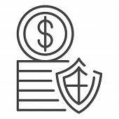 Secured Money Coin Icon. Outline Secured Money Coin Icon For Web Design Isolated On White Background poster