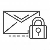 Secured Mail Icon. Outline Secured Mail Icon For Web Design Isolated On White Background poster