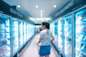 Abstract Blurred Supermarket Grocery Store And Refrigerators In Department Store., Woman Is Choosing poster