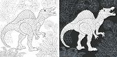 Coloring Page. Dinosaur Collection. Colouring Picture With Spinosaurus Drawn In Zentangle Style. poster