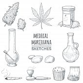 Medical Marijuana Hand Drawn Sketches. Marijuana Buds, Cannabis Leaf, Weed Joint, Bong, Oil, Smoking poster