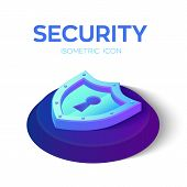 Security Shield Isometric Icon. 3d Isometric Security Shield Sign. Created For Mobile, Web, Decor, P poster
