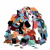 Vector Illustration With A Messy Pile Of Dirty Laundry. Big Pile Of Useless Clothes. Nothing To Wear poster