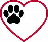 Heart And Paw, Cats Paw And Paw Logo poster