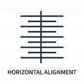 Horizontal Alignment Icon Isolated On White Background. Horizontal Alignment Icon Simple Sign. Horiz poster