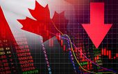 Canada Stock Exchange Market Crisis Red Market Price Down Chart Fall Stock Analysis Or Forex Charts  poster