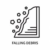Falling Debris Icon Isolated On White Background. Falling Debris Icon Simple Sign. Falling Debris Ic poster