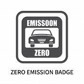 Zero Emission Badge Icon Isolated On White Background. Zero Emission Badge Icon Simple Sign. Zero Em poster