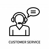 Customer Service Icon Isolated On White Background. Customer Service Icon Simple Sign. Customer Serv poster