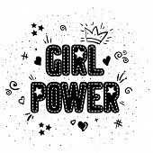 Girl Power With Crown Lettering With On White Background. Woman Motivational Slogan And Phrase. Femi poster