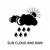 Sun Cloud And Rain Icon Isolated On White Background. Sun Cloud And Rain Icon Simple Sign. Sun Cloud poster