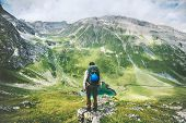Traveler Man Hiking Alone In Mountains Adventure Active Lifestyle Traveling  Summer Vacations Outdoo poster