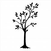 Black Silhouette Tree With Leaves. Tree Icon Silhouette   Isolated On White Background. Tree Icon Si poster