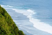 Bali Seascape With Huge Waves At Beautiful Hidden White Sand Beach. Bali Sea Beach Nature, Outdoor I poster