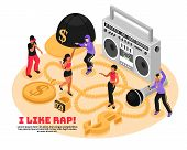 I Like Rap Retro Design Concept With Cassette Player Microphone Singing And Dancing Teens Isometric  poster