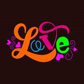 Love - Calligraphy Lettering Phrase. Vector Hand Drawn Illustration With Brush Painted Word Love And poster
