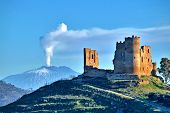 Picturesque View Of Mazzarino Medieval Castle With The Mount Etna In The Background, Caltanissetta,  poster