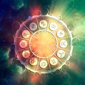 Astrological Symbols In The Circle. Elements Of This Image Furnished By Nasa. Deep Space Filled With poster