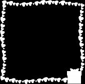 Black And White Retro Vintage Border Photo Frame Made Of Hearts With Giftbox Silhouette In Corner. M poster