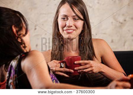 Pretty Brunette Talking With Friend
