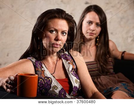 Worried Women Sitting