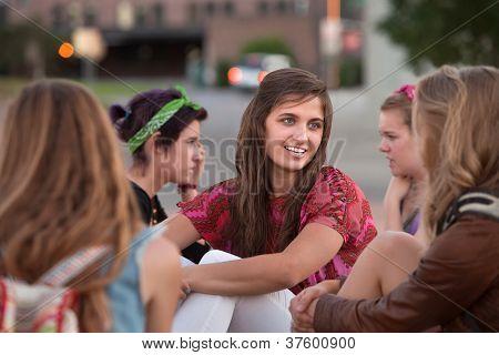 Five Girls Sitting Outside