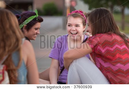 Four Teen Girls Giggling