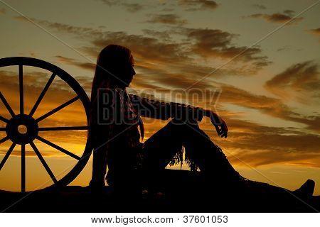 Woman Cowgirl Wagon Silhouette
