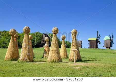 Straw Henge In Field