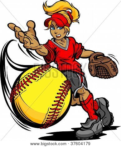 Fastpitch Softball Player Pitching Fast Pitch Softball Vector imagem