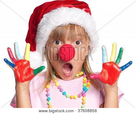 Little girl in Santa hat
