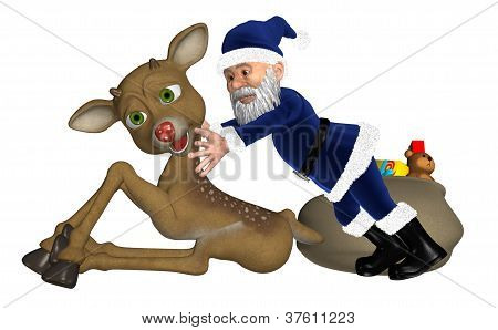 Santa Elf With Reindeer