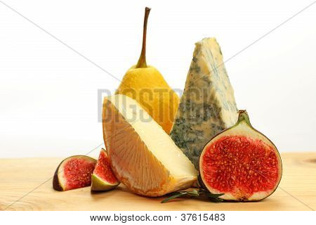 French cheese and fruits