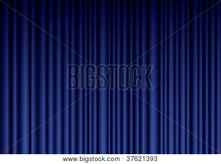 Closed Blue Theater Silk Curtain