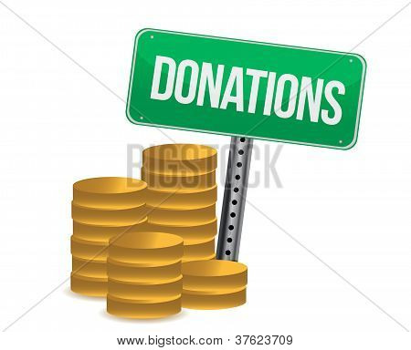 Coins And Donations Sign Illustration Design